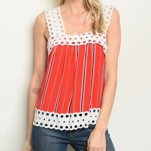 Tops - 5 for $100 Crochet Trim Square Neck Stripes